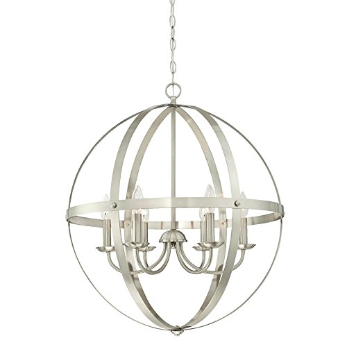 Westinghouse 6328300 Stella Mira Six-Light Indoor Chandelier Finish, Brushed Nickel Westinghouse Nickel Chandelier