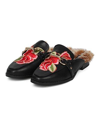 Alrisco Dames Satijn Brokaat Phoenix Horsebit Loafer Slide - Hf84 Door Wild Diva Collectie Zwart Kunstleer