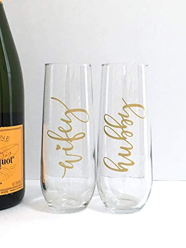 Wedding Champagne Flutes Husband Wife Hubby Wifey
