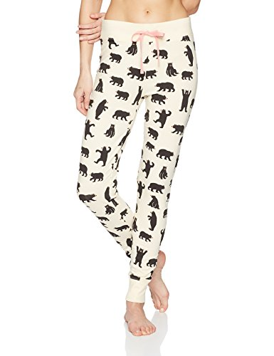 Little Blue House by Hatley Women's Pajama Leggings, Black Bears on Natural, X-Large