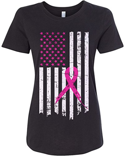 Threadrock Women's Pink Ribbon Breast Cancer Awareness Flag Fitted T-Shirt L Black