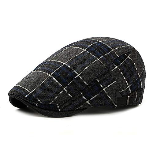 (LANLEO Men's Herringbone Wool Tweed Gatsby Newsboy Hat Flat Lvy Cabbie Driving Golf Cap (Blue-01))
