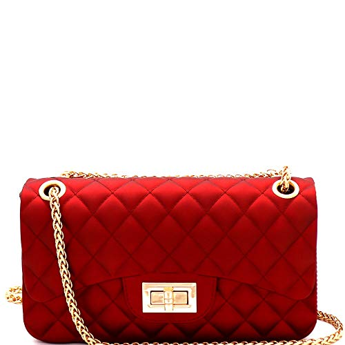 (Matte Texture Quilted Jelly Medium 2-Way Shoulder Bag Cross Body Bag with Chain Strap)