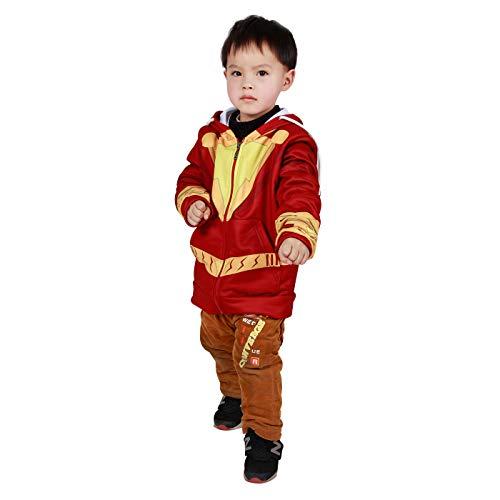 JiaMan HT Adult Captain Superhero Shazam Jacket Cosplay Costume Hoodies Kids 3D Style Sweatshirt (Kids-XS) Red,Yellow]()