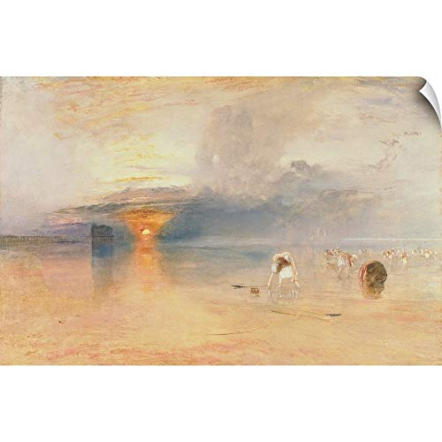 (CANVAS ON DEMAND Joseph (1775-1851) Turner Wall Peel Wall Art Print Entitled Calais Sands at Low Water, Poissards Gathering Bait, 1830 24
