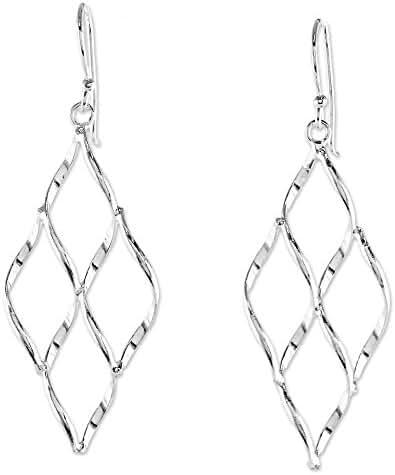 NOVICA .925 Sterling Silver Dangle Earrings, 'Swirling Diamond'