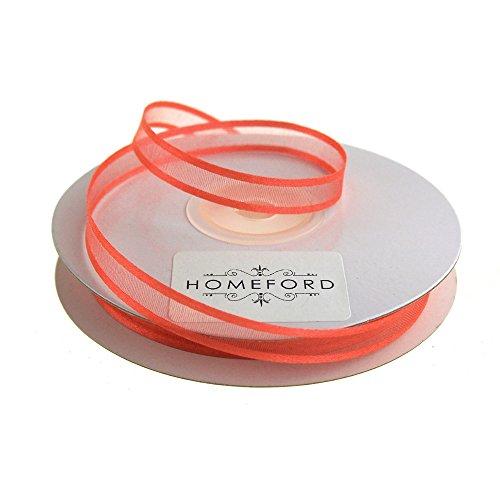 Homeford FCR000SES0308212 Satin-Edge Sheer Organza Ribbon, 3/8-Inch, Coral