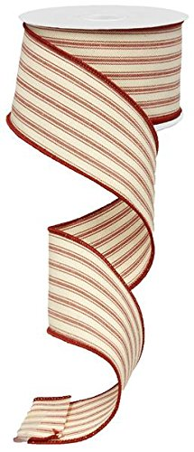 (Ticking Stripe Wired Edge Ribbon - 10 Yards (Beige, Red, 2.5