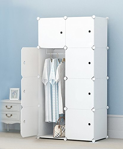 Eight Drawer Armoire (MEGAFUTURE Portable Wardrobe for Hanging Clothes, Combination Armoire, Modular Cabinet for Space Saving, Ideal Storage Organizer Cube for books, toys, towels (8-Cube, Extra Stickers Included))