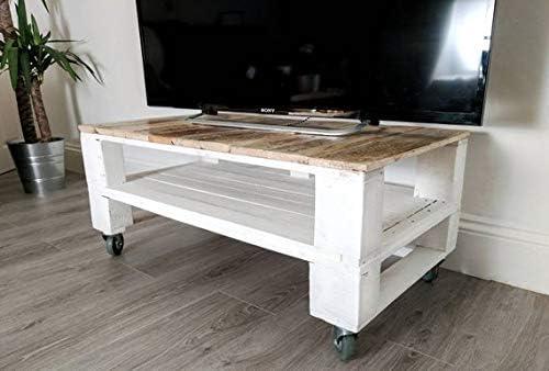 Mesa de Palets Pintada en Color Blanco - Madera Mesitas & Mesas ...