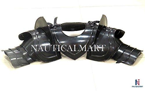 Gothic Pauldrons Upper Arm & Shoulder Armor - Black by NAUTICALMART