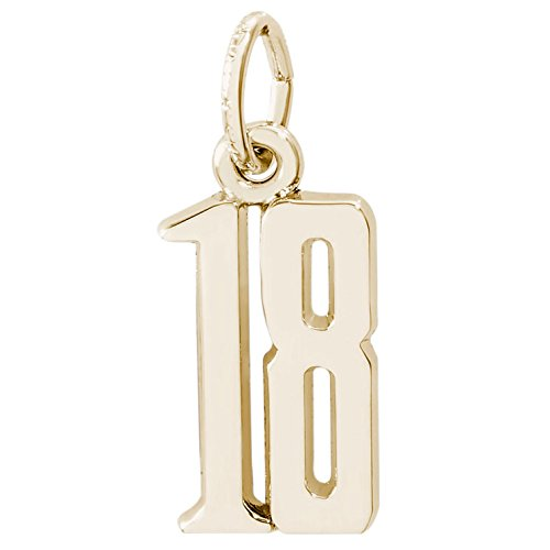 Rembrandt Charms Number 18 Charm, 14K Yellow Gold by Rembrandt Charms