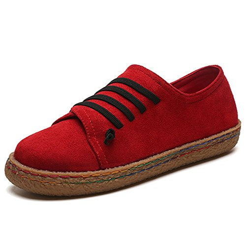 Casual on Red Women's Wide Shoes Leather Boat Flat Suede Labatostyle Slip Travel Loafer qz7fa55w