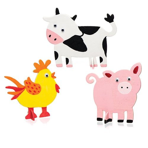 for Kids to Make Decorate /& Display Baker Ross Stand-Up Wooden Farm Animals Pack of 10