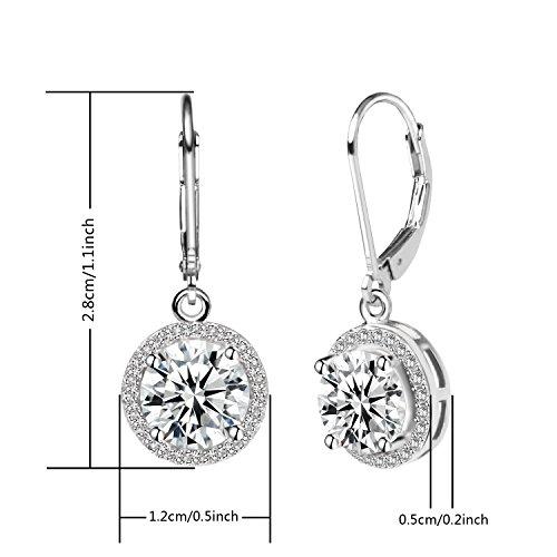 Jane Stone Sterling Silver Earrings Cubic Zirconia Halo Earrings Leverback Earrings Round Rhinestone Dangle Earrings Wedding Jewelry for Women Bridal by Jane Stone (Image #5)