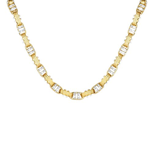 Finejewelers 14 Kt Two Tone Gold 22 Inch Ridged Fancy Dou Ble Bar Mariner Style Link Necklace Lobster Clasp