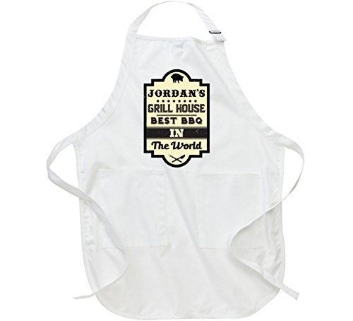 Jordan Best BBQ Grill In the World Greatest Cook Chef Custom Male Name Apron L White by T Shirt Warrior