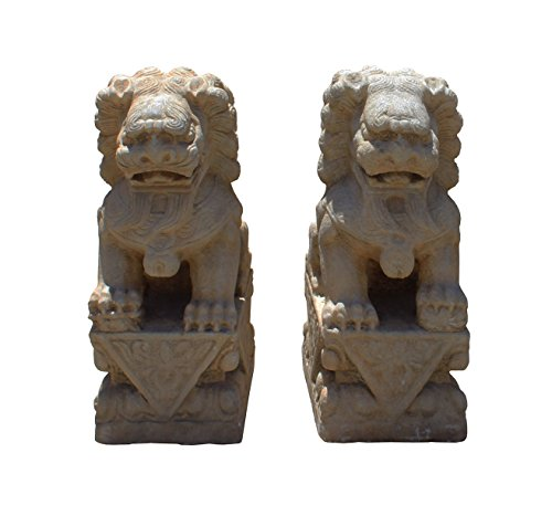 Chinese Pair Distressed Brown White Marble Stone Fengshui Foo Dogs Statues Acs2928