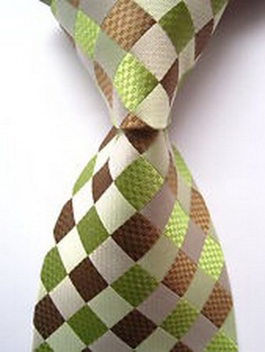 jacob alex #37910 Classic Necktie Checks Green Brown JACQUARD WOVEN Silk Men's Tie