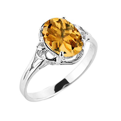 Modern Contemporary Rings Elegant 10k White Gold November Birthstone Genuine Citrine Gemstone Solitaire Ring (Size 6.75)