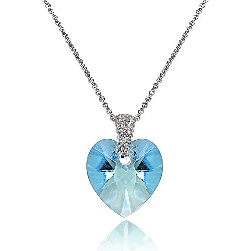 Sterling Silver Light Blue Heart Necklace Created with Swarovski Crystals