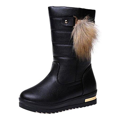 Binying Women's Round-Toe Flat Slip-on Fur Snow Boots Black IUHIyvJz
