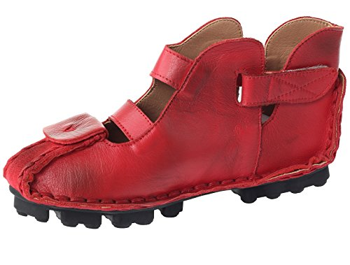 Mordenmiss Mujeres Summer Leather Huarache Sandals Tobillo Flat Shoes Style 1-red