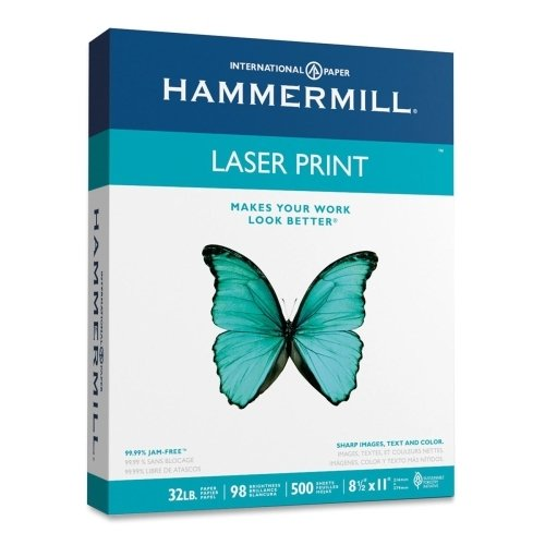 Laser Print Paper, 8-1/2 quot;x11 quot;, 32 lb., 98GE/112 ISO, White by Hammermill (Image #1)