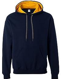 Gildan Mens Heavy Blend Contrast Hooded Sweatshirt / Hoodie (XXL) (Navy/Gold)