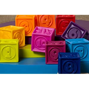 B. toys – One Two Squeeze Baby Blocks - Building Blocks for Toddlers – Educational Baby Toys 6 months and up with Numbers, Shapes, Animals & Textures – 10 Soft & Colorful Stacking Blocks – BPA free
