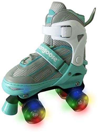 Mongoose Roller Skates for Girls Adjustable with Light Up Wheels Beginner Inline Skates Fun Illuminating for Kids Boys and Girls, Mint