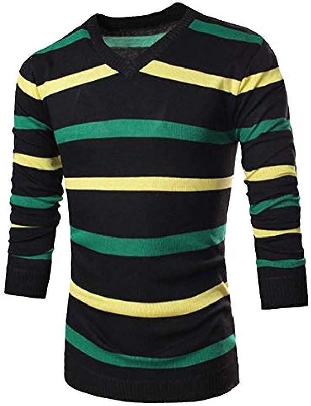 HX fashion męski sweter dziergany drobny sweter z długim rękawem w paski sweter z okrągłym dekoltem wygodny rozmiar wycięcie sweter sweter ubranie: Odzież