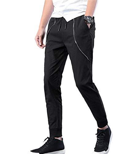 Adelina Pantaloni Chino Elasticizzati Da Uomo Basico Leggero Abbigliamento Jogger Dritti Casual Nero