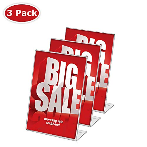 - Display4top 3 Pack, 8.5 x 11 Inches Displays Clear Acrylic Slanted Sign Holders Portrait Ad Frame.(super unbreakable)
