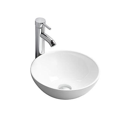 Vasque De Salle De Bain Ronde.Gimify Vasque A Poser Moderne Lavabo Salle De Bain Ceramique Blanche Ronde