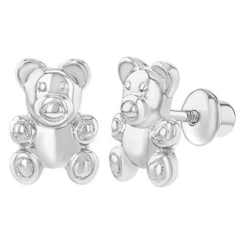 (925 Sterling Silver Kids Childrens Little Teddy Bear Earrings Screw Back)