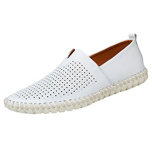 YiLianDa Herren Leder Slipper Leicht Flache Schuhe Anti-Rutsch Spaziergang Schuhe Weiß(Stoma)