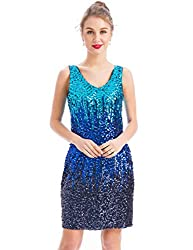 V-Neck Sequin Bodycon Stretchy Dress