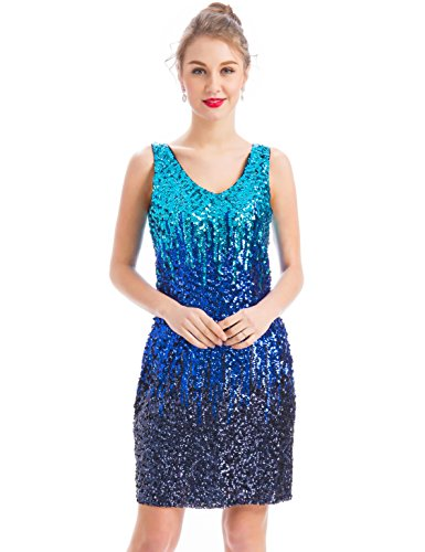 c189510f65 MANER Women s Sexy V Neck Sequin Glitter Bodycon Stretchy Club Mini Party  Dress