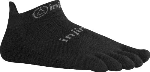 Injinji Performance 2.0 Run Original Weight No-Show CoolMax XtraLife Toe Socks - Black - Large
