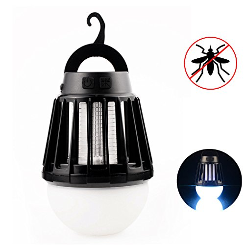 Wanfei Mosquito Lamp, 2 in 1 LED Camping Tent Light IPX6 Waterproof Bug Zapper Lantern with Retractable Hook 3 Modes Lights 2000mAh Rechargeable Battery for Home Outdoors Emergency - Black