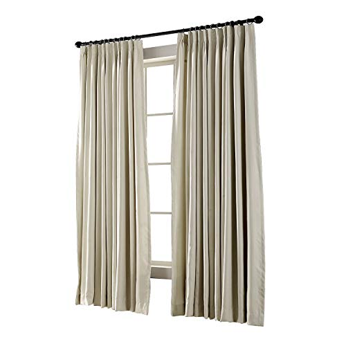 (TWOPAGES Pinch Pleated Curtain Beige Solid Thermal Insulated Blackout Drape, 120