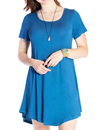 JollieLovin Women's Tunic Casual Short Sleeve Swing Loose T-Shirt Dress (Steel Blue, L) - Maternity Tunic Dress