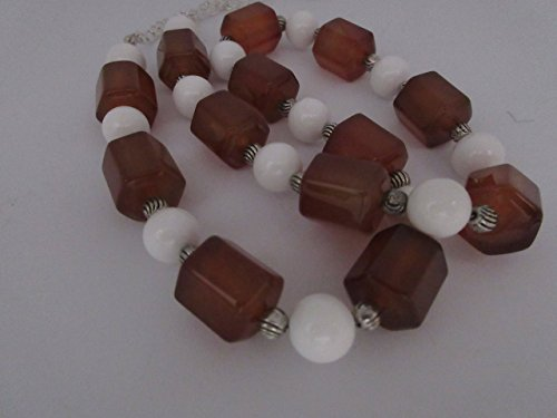 Amber Glass and Ceramic Beads Necklace