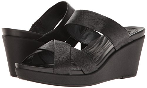 crocs Women's leighann Leather Wedge Sandal, Black/Black, 7 M US by Crocs (Image #6)