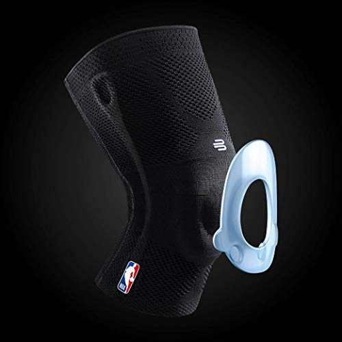Bauerfeind GenuTrain NBA Knee Brace - Basketball Support with Medical Compression - Sleeve Design with Patella Pad Gel Ring for Pain Relief & Stabilization (Black, S) by Bauerfeind (Image #2)