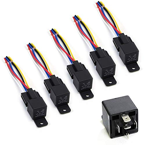 iJDMTOY (5) 12V 30A/40A 5-Pin SPDT Relay Socket Wire For Car Fog Lights, LED Light Bars, Aftermarket Fogs, Daytime Running Lamps etc