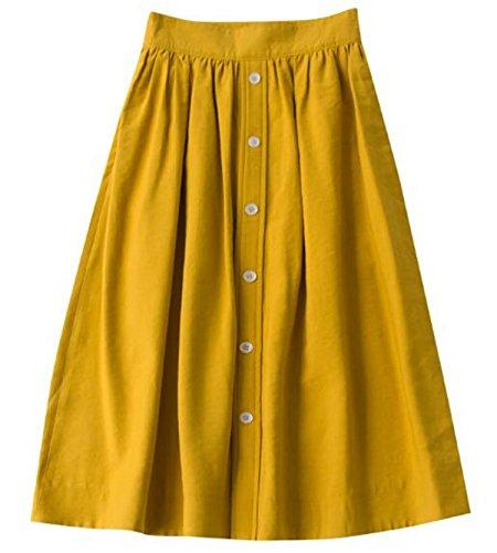 OMUUTR Jupe Trapze Taille Haute pour Femme Boutons de Printemps et t Rtro lgante Jupon Nouvelle Robe Mince de Style Jupe de Mode Simple Jaune