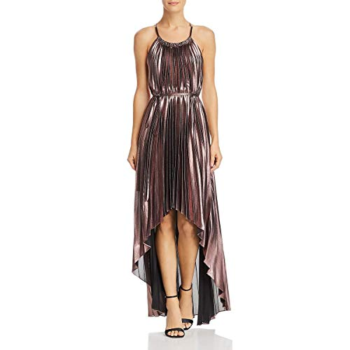 BCBG Max Azria Womens Valerie Metallic Halter Cocktail Dress Pink S ()