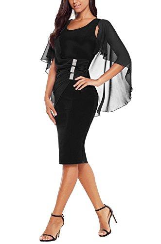 Black Sleeve Midi Chiffon Womens Bodycon Cape Dress Ruched Dress Kyices Ruffle FpfHxwBxq